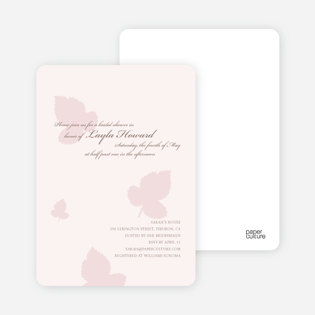 Elegant Leaves Bridal Shower Invitations - Blush