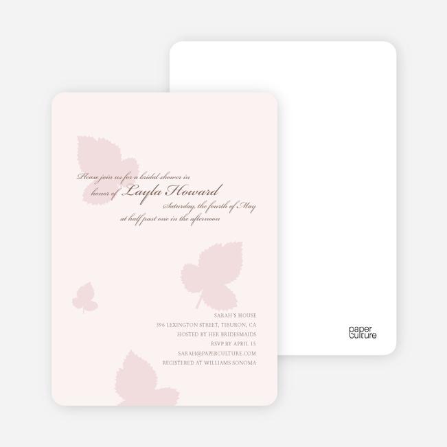 Elegant Leaves Bridal Shower Invitations - Blush