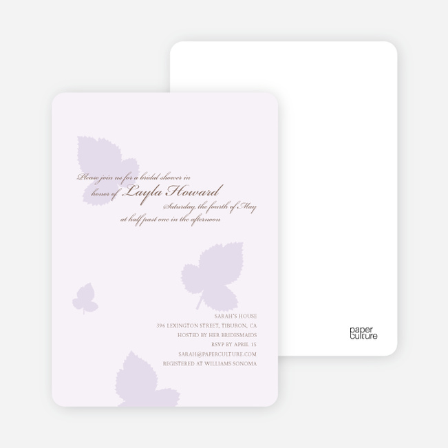 Elegant Leaves Bridal Shower Invitations - Wisteria