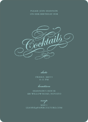 Elegant, Yet Modern Cocktail Party Invitation - Dark Turquoise