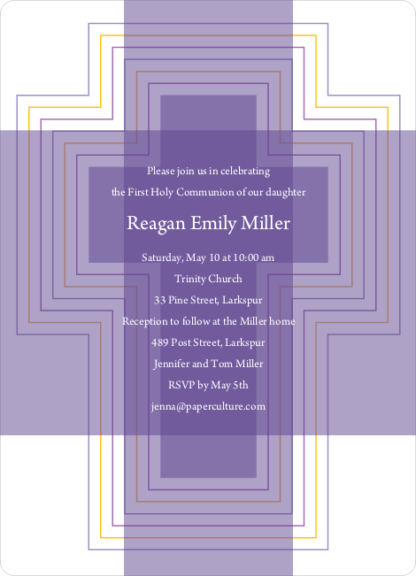 Bold, Geometric Cross – Holy Communion Invitations - Purple