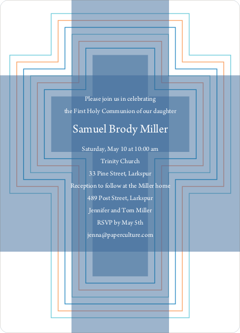 Bold, Geometric Cross – Holy Communion Invitations - Cadet Blue