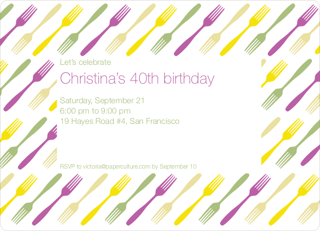 Fork Fork Fork Party Invitation - Purple