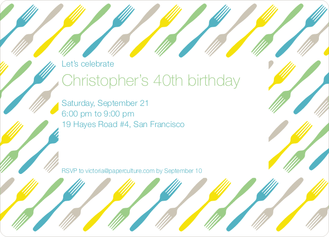 Fork Fork Fork Party Invitation - Cornflower Blue
