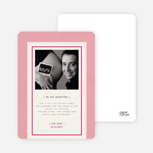 Fabric Frame Pregnancy Announcements - Bubble Gum