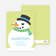 Fat Snowman Holiday Invitations - Pale Celery