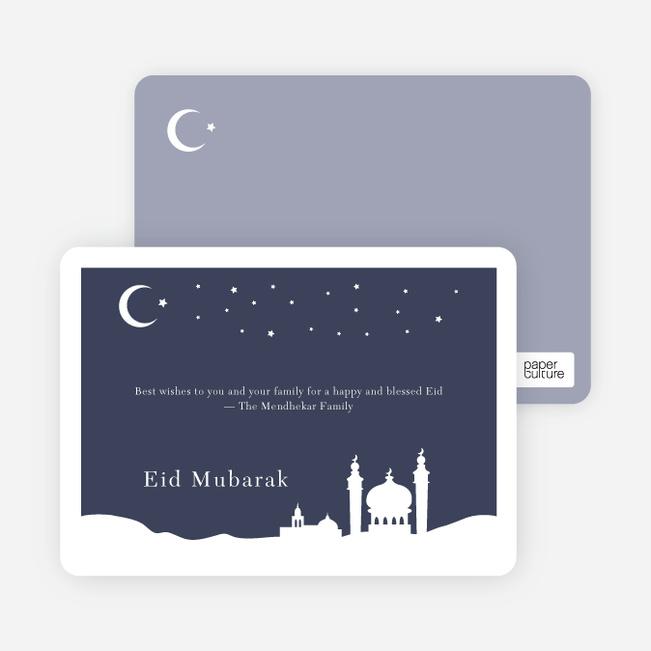 Festive Mosque Eid Cards - Indigo