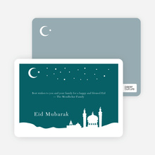 Festive Mosque Eid Cards - Teal
