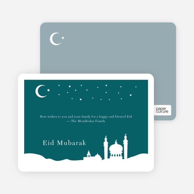 Festive Mosque Eid Cards - Teal