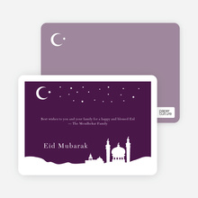 Festive Mosque Eid Cards - Eggplant