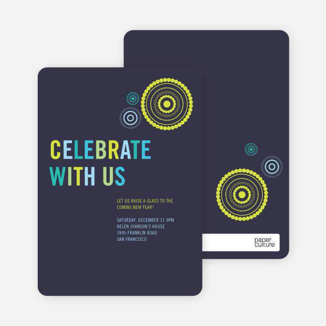 Fireworks New Year's Party Invitations - Grape