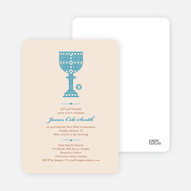 First Sacrament Chalice Holy Communion Invitation - Royal Blue