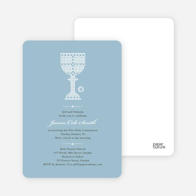 First Sacrament Chalice Holy Communion Invitation - White
