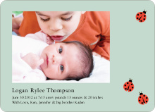 Ladybug Ladybug Photo Birth Announcements - Green Antique