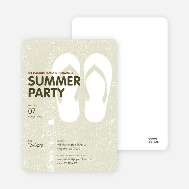 Flip Flop Summer Party Invitations - Light Sage