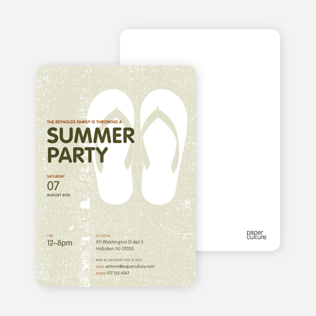 Flip Flop Summer Party Invitations - Light Sage