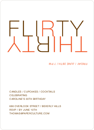 Flirty Thirty – 30th Birthday Invitation - Orange