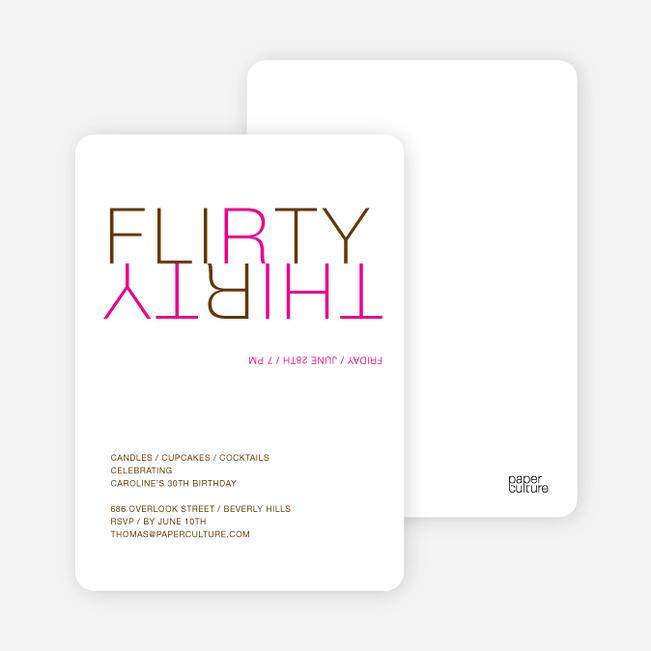 Flirty Thirty – 30th Birthday Invitation - Magenta