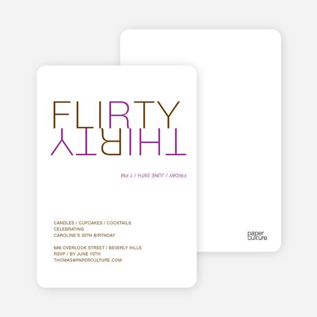 Flirty Thirty – 30th Birthday Invitation - Purple