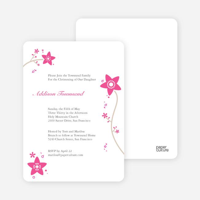 Floral Baptism Invitations - Pink