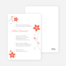 Floral Baptism Invitation - Orange
