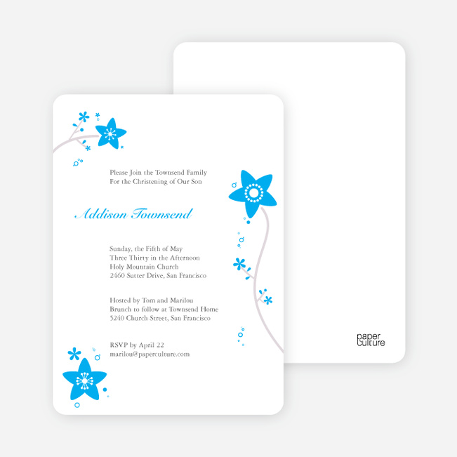 Floral Baptism Invitations - Sky Blue