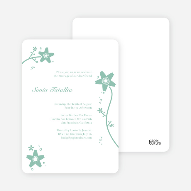 Floral Bridal Shower Invites - Sage