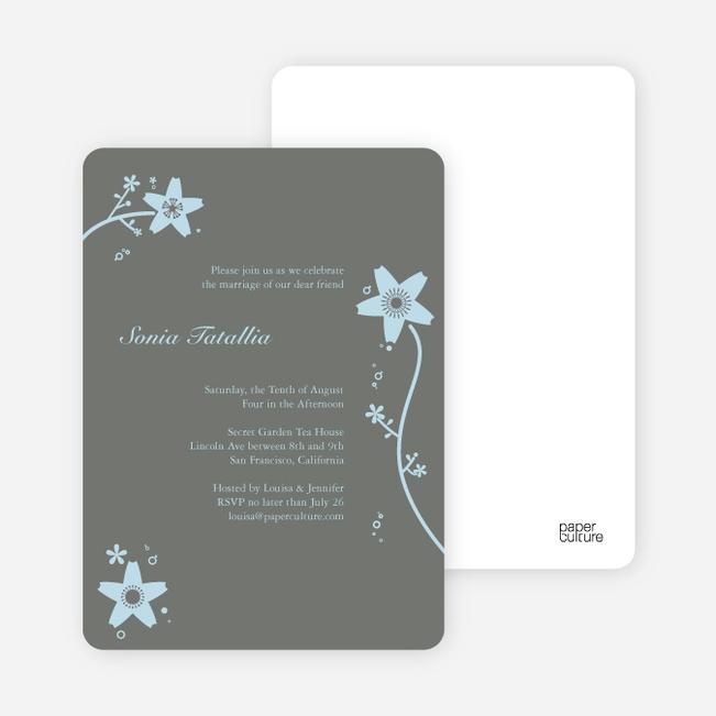 Floral Bridal Shower Invites - Baby Blue