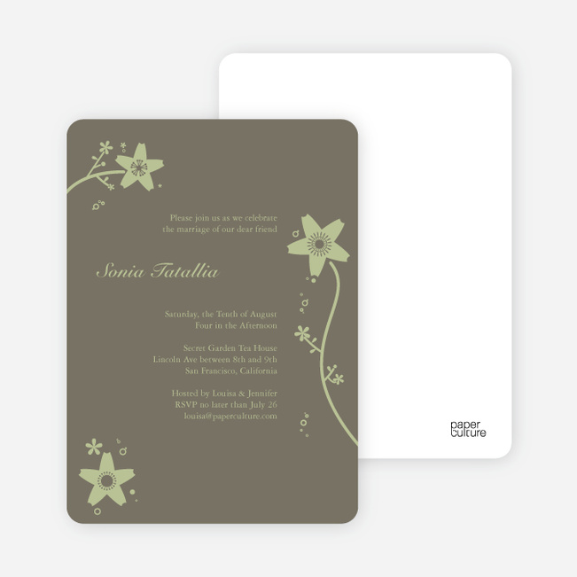 Floral Bridal Shower Invites - Taupe