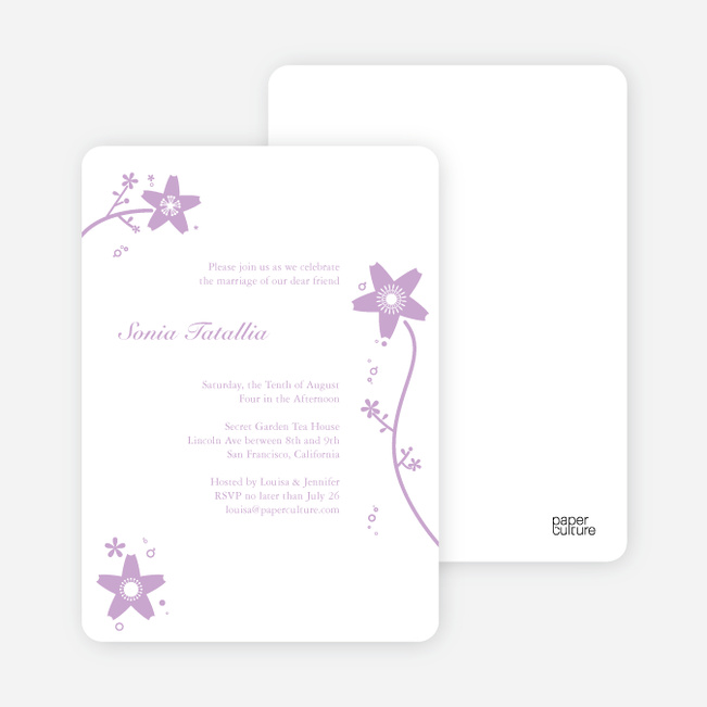 Floral Bridal Shower Invites - Lavender