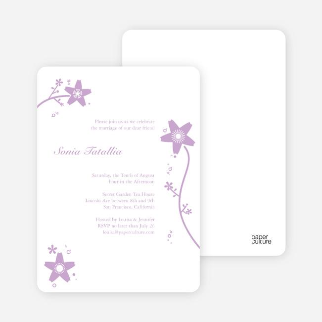 Floral Bridal Shower Invites - Lavender