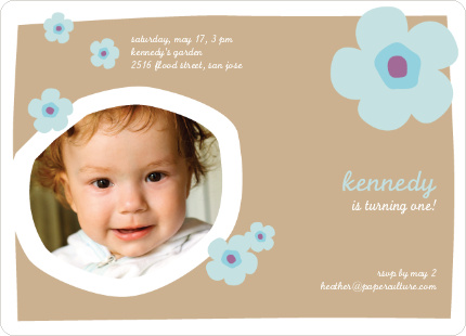 Flower Photo Cards for Birthday Parties - Almond Beige