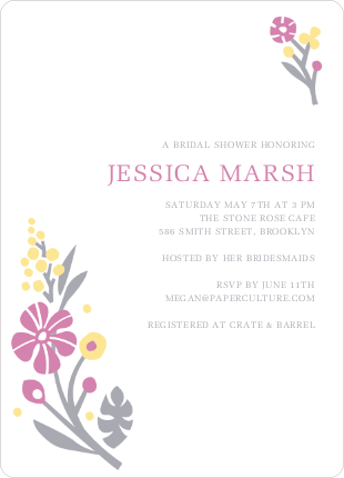 Flower Sprig Bridal Shower Invitations - Raspberry Pudding