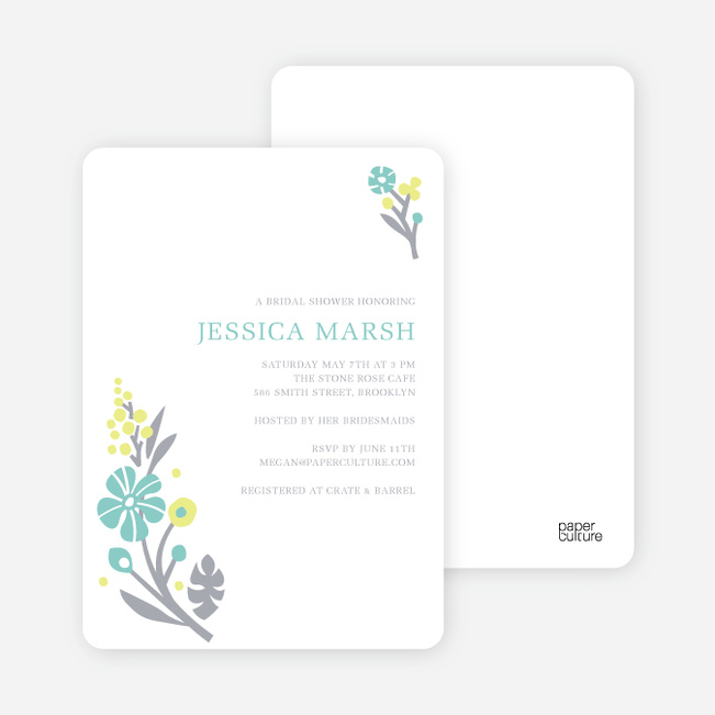 Flower Sprig Bridal Shower Invitations - Lagoon