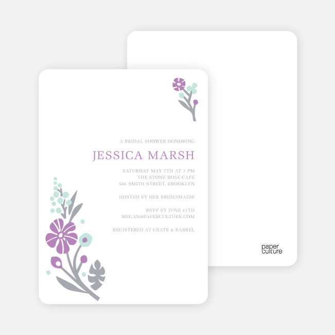 Flower Sprig Bridal Shower Invitations - Grape Petal