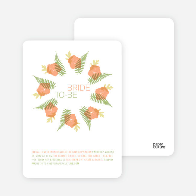 Flower Wreath Bridal Shower Invitations - Peach