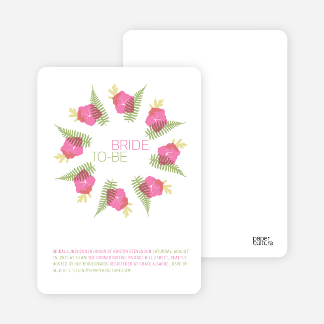 Flower Wreath Bridal Shower Invitations - Hot Pink