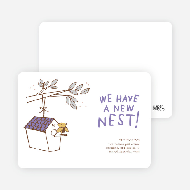 Flown the Coop, New Nest Moving Announcements - Grape Gumdrop
