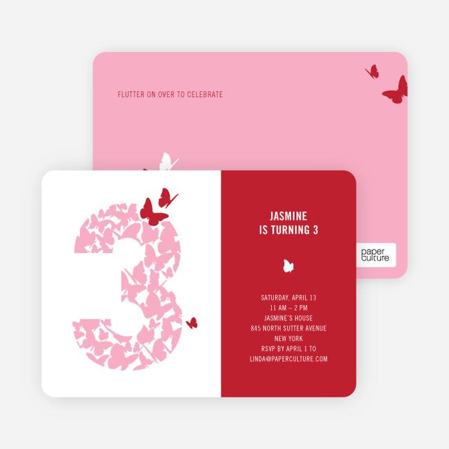Flying Butterfly Modern Birthday Invitation - Cherry Red