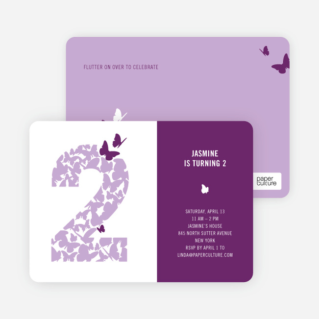 Flying Butterfly Modern Birthday Invitation Paper Culture