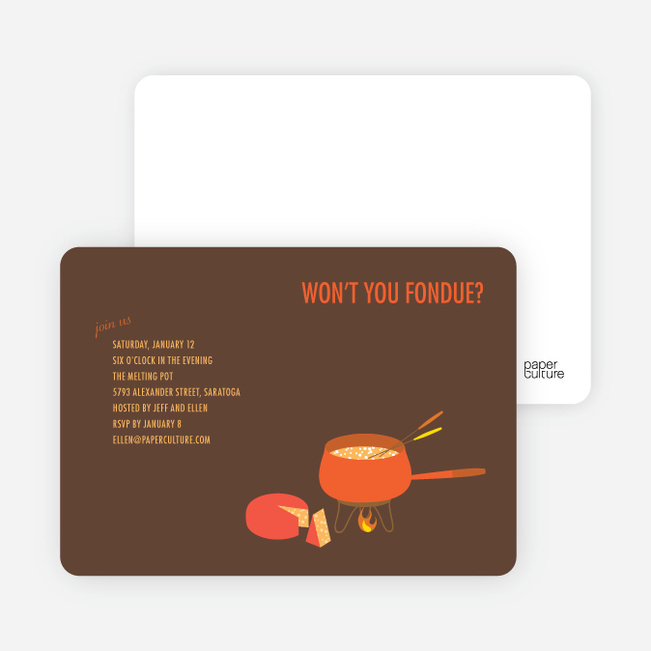 Fondue Party Invitations - Carrot