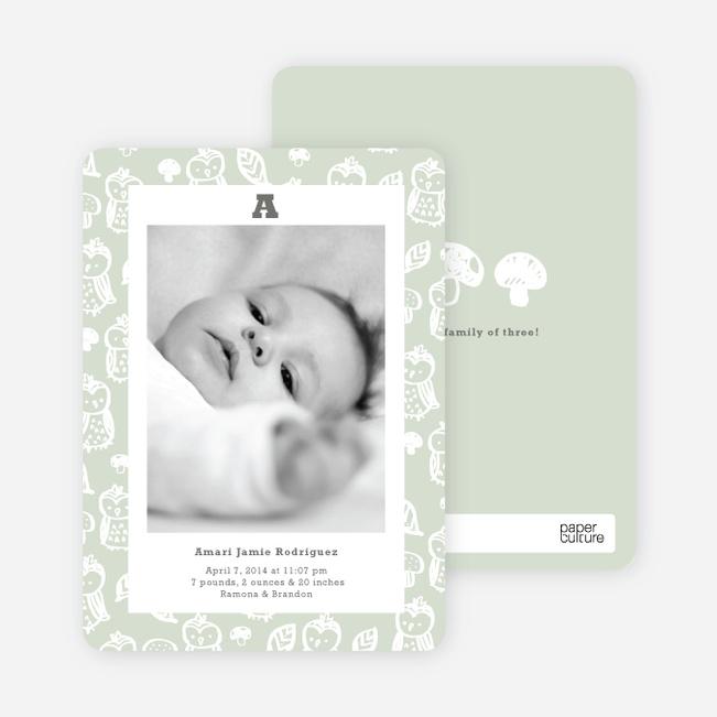 Framed Owl Birth Announcements - Green Onesie