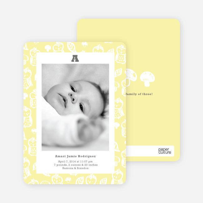 Framed Owl Birth Announcements - Daisy