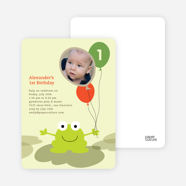 Frankie the Funky Frog Birthday Invitations - Sunset