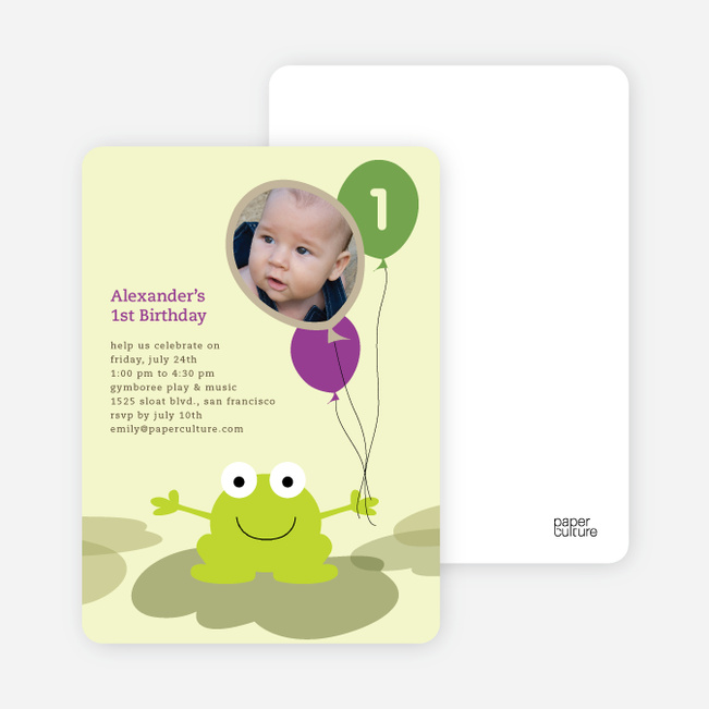 Frankie the Funky Frog Birthday Invitations - Grape Vine