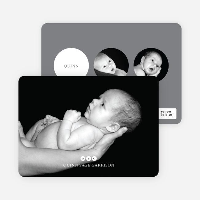 Freshly Minted: Monogram Birth Announcements - White