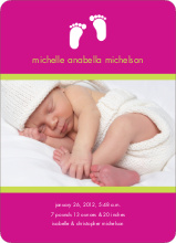 Baby Feet Birth Announcements - Fuchsia