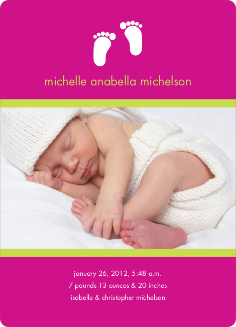 Baby Feet Photo Birth Announcements - Fuchsia