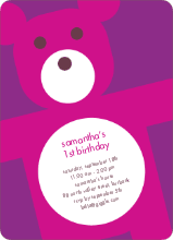 Cuddly Teddy Bear Invites - Purple