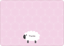 Sheep Baby Shower Note Cards - Fuchsia